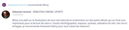 Recommandation Sébastien Gremel Sports
